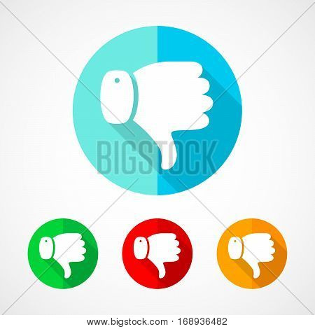 Set of colored thumb down icons. White thumb down with long shadow. Vector illustration. Thumb down sign on a the round button.