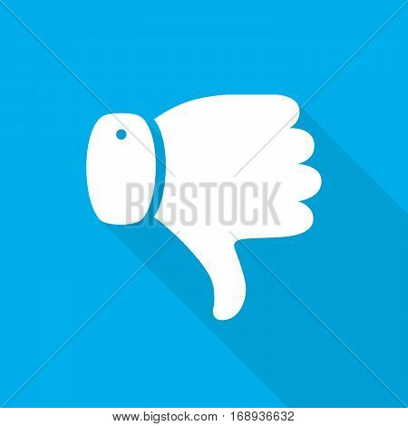 Thumb down icon with long shadow on blue background. Vector illustration. Dislike concept. Hand with thumb down in flat design.