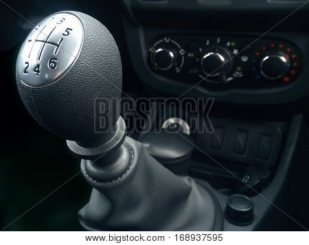 Lever manual six-speed gearbox. Handle a manual transmission