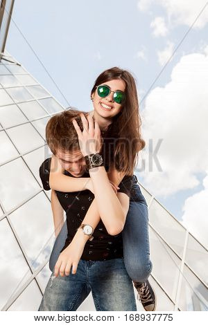 Amazing Happy Couple Having A Lot Of Fun Outside In The City