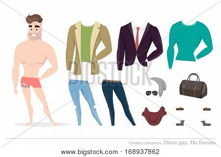 Clothing sets for men. Constructor of the character. Creating a character style. Different types of attire for a guy. Cartoon style.