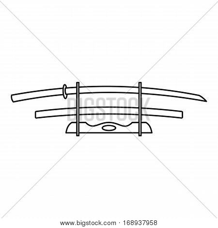 Katana weapon icon. Outline illustration of katana weapon vector icon for web