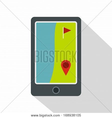 Golf course on a tablet screen icon. Flat illustration of golf course on a tablet screen vector icon for web   on white background