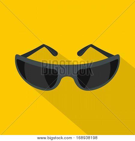 Black sunglasses icon. Flat illustration of black sunglasses vector icon for web   on yellow background