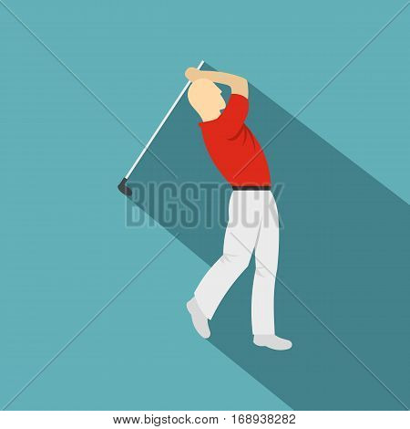 Golf player in a red shirt icon. Flat illustration of golf player in a red shirt vector icon for web   on baby blue background