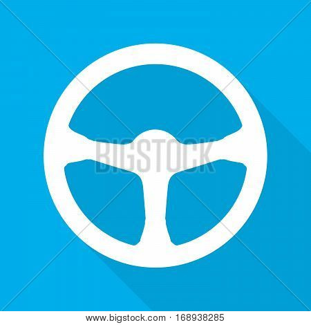 Steering wheel icon. Vector illustration. White car steering wheel with long shadow on blue background.