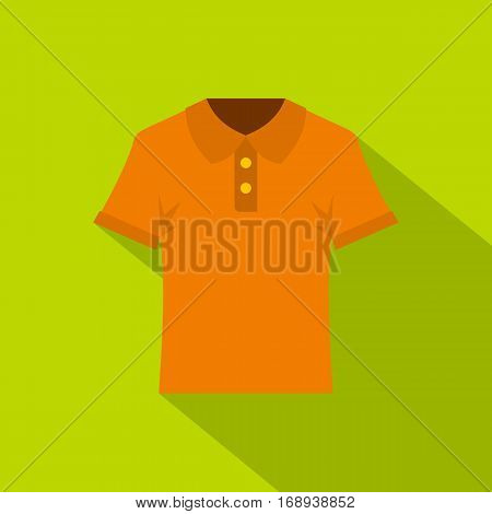 Orange men polo shirt icon. Flat illustration of orange men polo shirt vector icon for web   on lime background