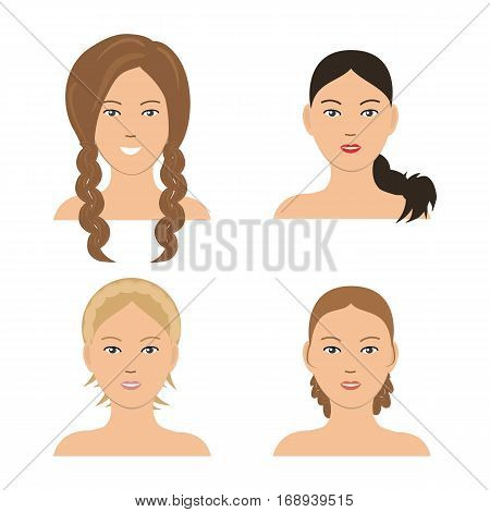 Set of woman hair styling. Four different images of girls. It can be used for the websites and forums. Vector illustration