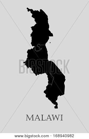 Black Malawi map on light grey background. Black Malawi map - vector illustration.