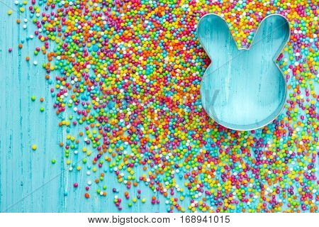 Colorful Easter background with Easter bunny top view