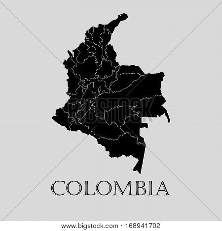Black Colombia map on light grey background. Black Colombia map - vector illustration.