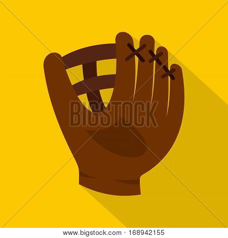 Brown leather baseball glove icon. Flat illustration of brown leather baseball glove vector icon for web   on yellow background