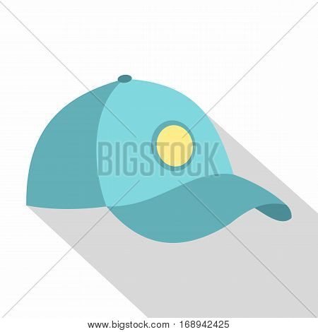 Blue baseball cap icon. Flat illustration of blue baseball cap vector icon for web   on white background