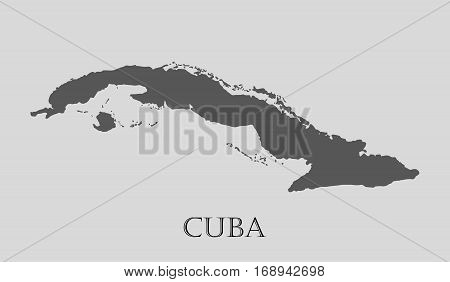 Simple gray Cuba map on light grey background. Gray Cuba map - vector illustration.