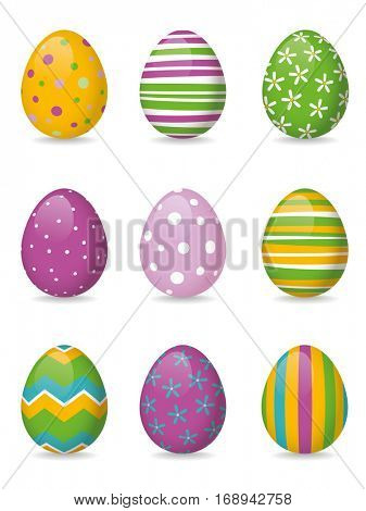 Set of nine vibrant glossy colorful easter eggs with different patterns
