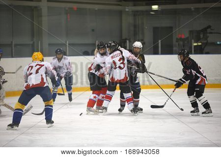 Moscow, Russia - January, 08, 2017: Female amateur hockey league LHL-77. Game between female hockey team