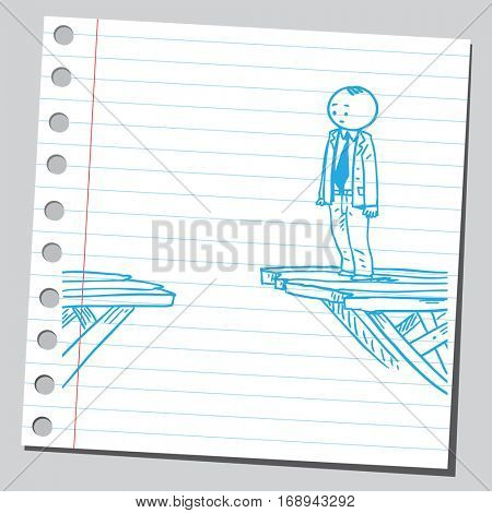 Businessman standing on broken bridge
