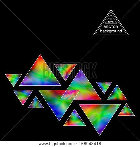 Iridescent Triangles Design Element for the Dark Background. Geometric Triangular Shapes Compositions with Realistic Holographic Effect.