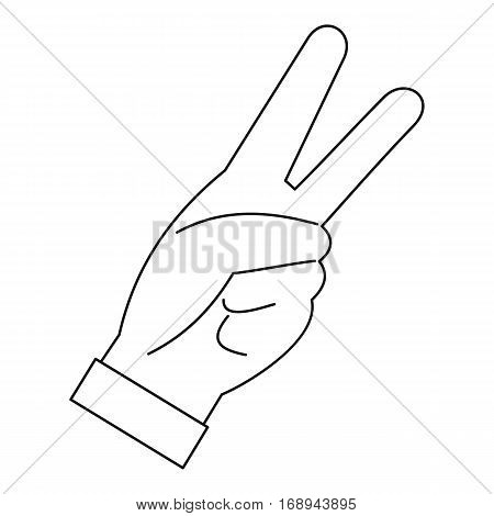 Hand with two fingers icon. Outline illustration of hand with two fingers vector icon for web