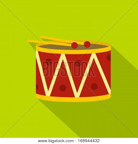 Red drum and drumsticks icon. Flat illustration of red drum and drumsticks vector icon for web   on lime background