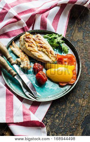 Healthy Food On Rustic Table