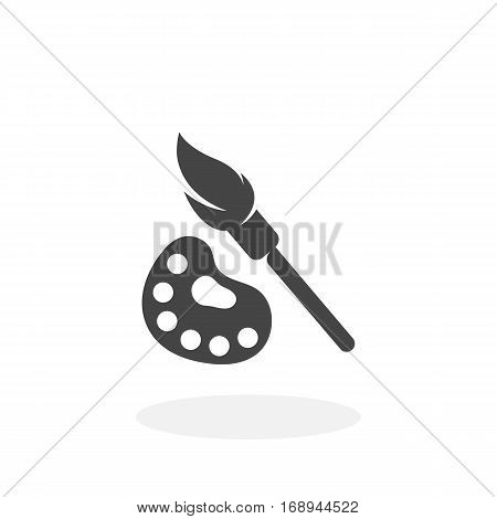 Paint brush with palette icon isolated on white background. Paint brush vector logo. Flat design style.