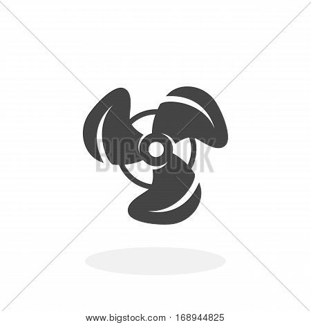 Propeller icon isolated on white background. Propeller vector logo. Fan in flat design style.
