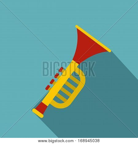 Colorful trumpet toy icon. Flat illustration of colorful trumpet toy vector icon for web   on baby blue background