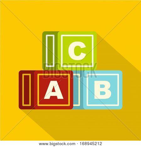 Colorful alphabet cubes icon. Flat illustration of colorful alphabet cubes vector icon for web   on yellow background