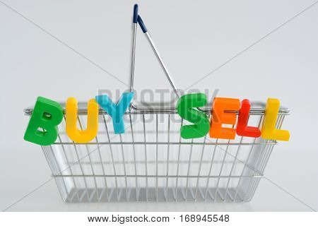 Metal Shopping basket with magnetic letters on it