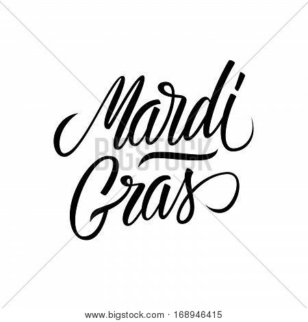 Mardi Gras calligraphic lettering text design. Creative typography for holiday greetings and invitation. Vector illustration.