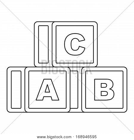 Alphabet cubes icon. Outline illustration of alphabet cubes vector icon for web