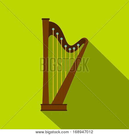 Wooden harp icon. Flat illustration of wooden harp vector icon for web   on lime background