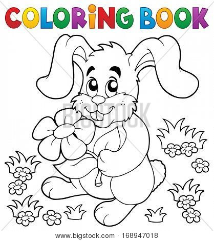 Coloring book Easter rabbit theme 3 - eps10 vector illustration.