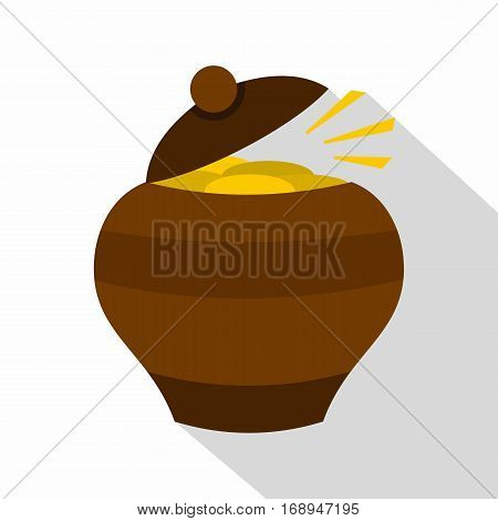 Clay pot full of gold coins icon. Flat illustration of clay pot full of gold coins vector icon for web   on white background