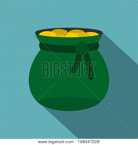Green bag full of gold coins icon. Flat illustration of green bag full of gold coins vector icon for web   on baby blue background