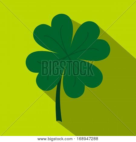 Four leaf clover icon. Flat illustration of four leaf clover vector icon for web   on lime background