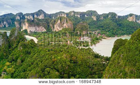 Aerial view of Railay beach west and east in Krabi province, Thailand