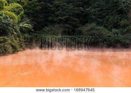 Blood pond onsen in Beppu city