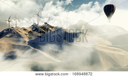 Wind Electricity Generators In Mountain