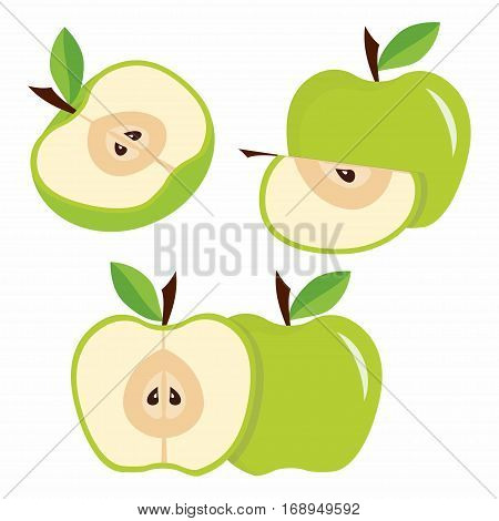 green apple half and quarter apples with leaves