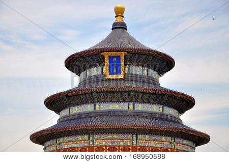 Hall of Prayer for Good Harvests in Temple of Heaven, Beijing, China. Temple of Heaven: an Imperial Sacrificial Altar in Beijing is UNESCO World Heritage Site since 1998.