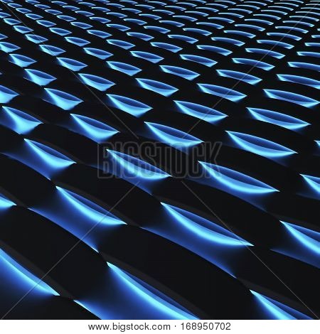 Black 3d panels with luminescence. 3d rendering.