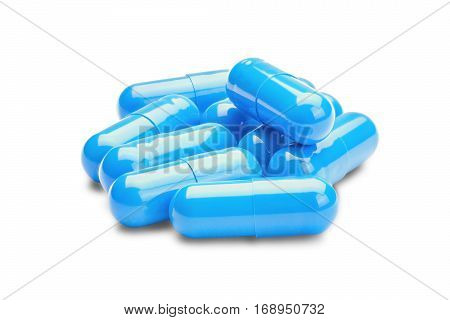 medicine blue pills on a isolated white background