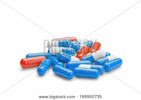 Medicine Red And Blue Pills On A Isolated White Background