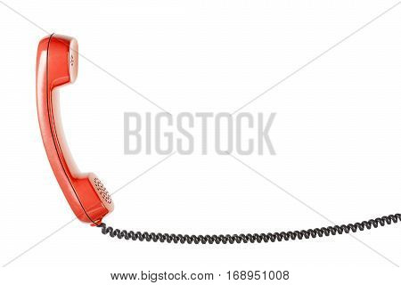 Handset From Landline Phone On The Isolated White Background