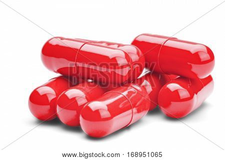 Medicine Red Pills On A Isolated White Background