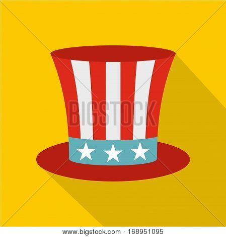 Uncle Sam hat icon. Flat illustration of uncle Sam hat vector icon for web