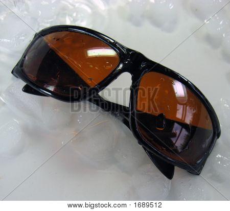 Blue Blocker Sunglasses And Ice