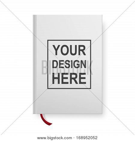 Realistic book blank cover isolated on white. Vector mock up EPS10 illustration.